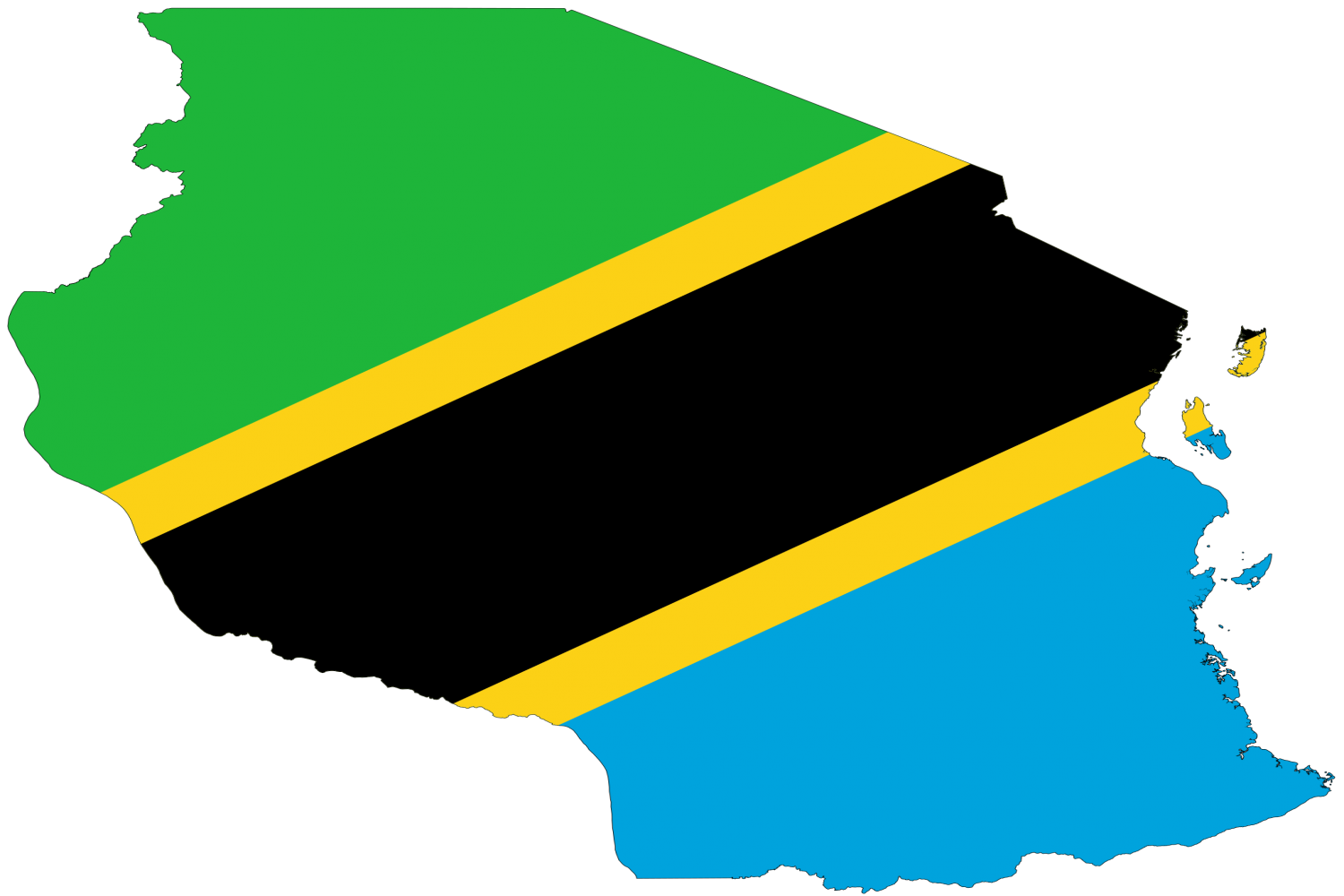 Outline of Tanzania but filled with Tanzanian National Flag colours
